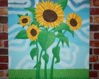 Original Hand Painted Sunflower Trippy Art Surreal Art Psychedelic Art Flower Art Nature Art Nature Painting Sunflower Landscape Summer Sun
