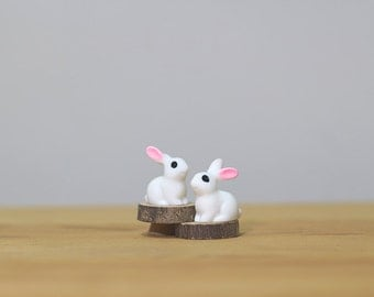 Set of 3 Miniature Forest Rabbit Figurine, Miniature Terrarium Figurine, Miniature Rabbits, Dollhouse Rabbits, Gifts for Rabbit Lovers