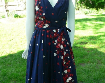 1960's Vintage  Lanz Navy Rose Print Sun Dress