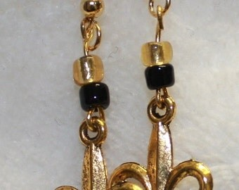 Black and Gold Fleur de Lis Earrings