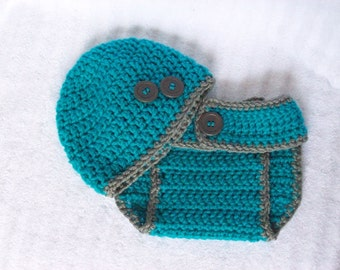 Baby Boy Diaper Cover Set in Turquoise and Grey, Crochet Diaper Cover Set, Diaper Cover and Hat Set, Newborn Diaper Cover, Photo Prop