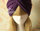 Purple Turban Hat Hijab with Soft Stretchy Cotton Modal, Knot Front Hat Style Turban hat, Headwrap, Neck Warmer, BOHO Chic Style