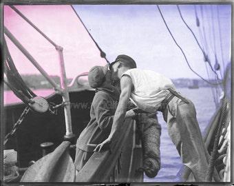 1930 Vintage Photograph: Man and Woman Kissing Across Two Vessels * Digital Print, Ephemera, Wall Decor * Download Instantly, Print & Hang!