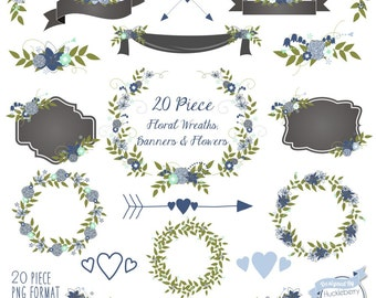 80% OFF SALE 20 Piece Floral Wreaths, Floral Banners, Floral Labels, Save the Date Clipart, Laurels, with Blue and Green Colors, Vector