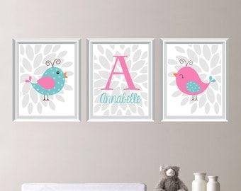 Baby Girl Nursery Art Print - Bird Nursery Art - Bird Bedroom Art - Bird Nursery Decor - Shabby Chic Nursery Art - Monogram (NS-670)