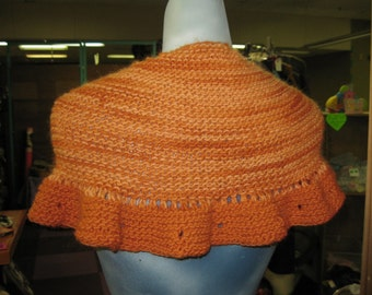 Creamsicle & Tangerine Shawl - wool/mohair blend with ruffles