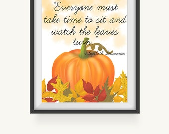 Printable Art, Pumpkin and Autumn Leaves Art, Wall Prints, Fall Wall Decoration, Instant Download, Illustrated Art Print, Fall Leaves Decor