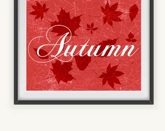 Printable Art, Autumn Printable Art, Wall Prints, Fall Wall Decoration, Instant Download, Illustrated Art Print, Fall Leaves Decor