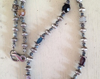 Multi Semi Precious Gem Stones and Sterling Bead Necklace