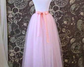 Pink Tulle Skirt with Ribbon Waist and Ties  - Full Length Adult Tutu for Bridesmaids, Princesses, or Photoshoots - Custom Size