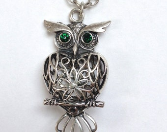 "30"" Long Owl Necklace with Green Eyed Owl Pendant"