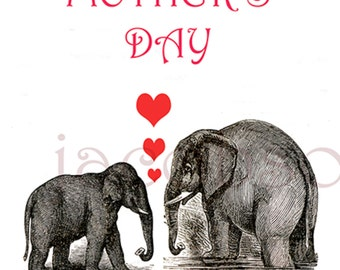 Mother's Day printable,instant download,4x6,instant email,printable,red hearts,mother,elephants,animals,last minute,digital download,Love,