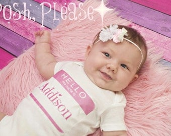 Baby Girl Outfit - Name Reveal - Newborn Girl - OnePiece Take Home Outfit