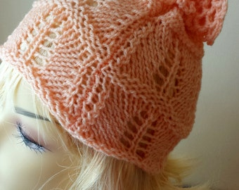 Hand Knitted toddler children  hat  , peach, salmon hat, knit girls hat  in peach color for children