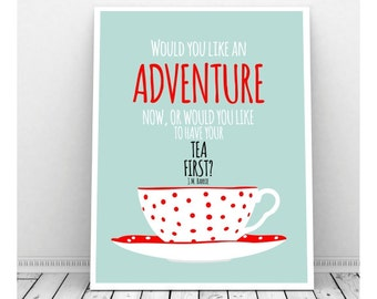 J M Barrie Quote, Tea Art, Tea Cup, Red Polka Dots, Instant Download, Digital Print, Tea Lover, Peter Pan, Vintage Tea Cup, Tea Art Print
