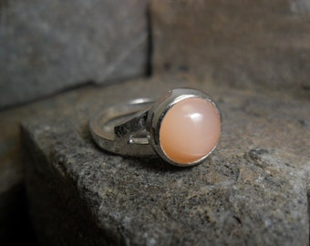 Sterling silver ring set with a moon stone