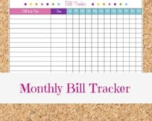 Monthly Bill Tracker - Payment Organizer, Personal Finance, Money Management
