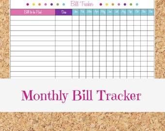 Monthly Bill Tracker - Payment Orga nizer, Personal Finance, Money ...