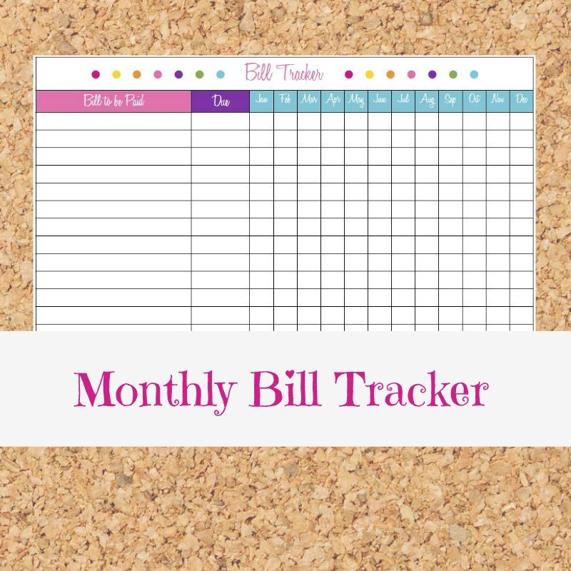 Monthly Bill Tracker Payment Organizer Personal Finance