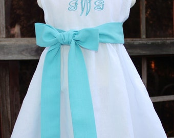 Girls White Linen Dress with Linen Sash and Monogram