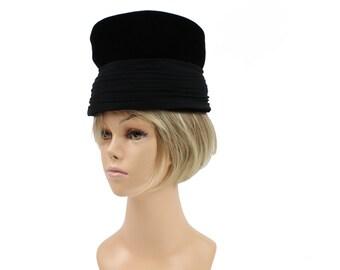 Vintage 50s Velvet Pillbox Hat Black Ruched Silk Fabric Bucket Hat Ladies Hat 1950s Womens Winter Fashion Accessories