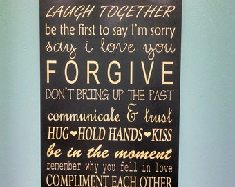 Marriage Rules Sign, Rules For A Happy Marriage Sign - Wedding Gift, Anniversary, Bride & Groom, Bridal Shower