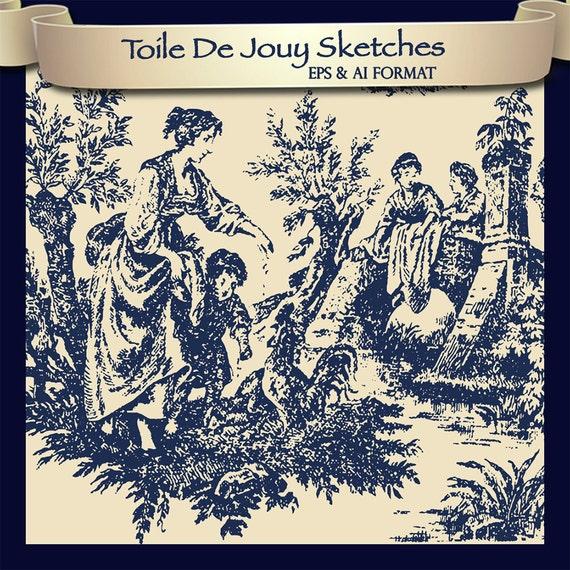 10 eps toile de jouy vector sketches plus ai printing toile - Rideaux toile de jouy ...