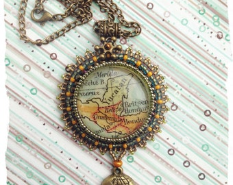 Bead embroidered Old  Map Pendant
