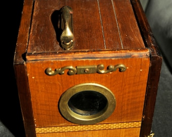 Wood and Brass Steampunk Ghost Box Contraption by Jonathan Postal with Photographic Image inside