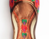 US size 6/ Red Embroidered Shoes/Women Ballet Flats/Multicolor Women shoes/Designer Shoes/Wedding Shoes/Royal Styled Jooties/Bridesmaid