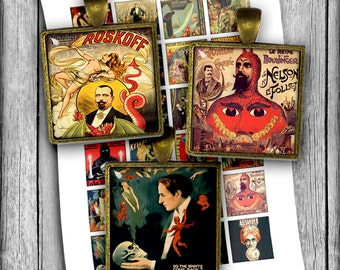 Vintage Magicians Posters -  Square Printable Images 18x18mm 1x1 inch and 1.5x1.5 inch Digital Collage Sheet- Instant Download