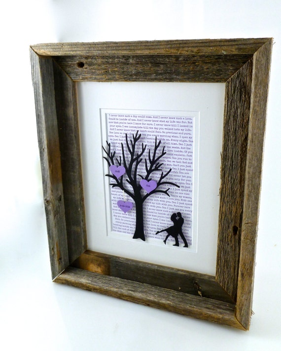 Personalized 1st Year Anniversary Gift Tree With Barn Wood