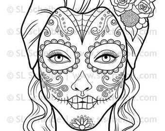 Digital Stamp Day of the Dead, Calavera Girl, dia de los Muertos digistamp