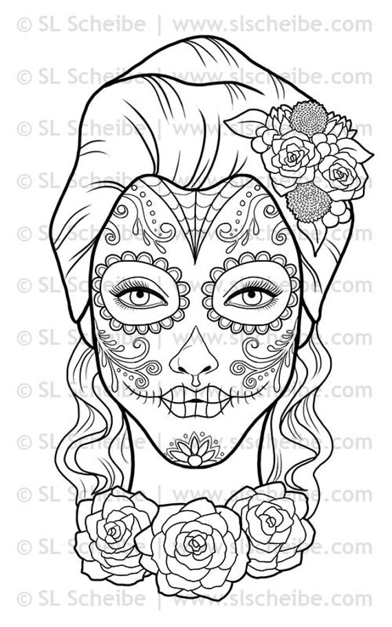Digital stamp day of the dead calavera girl dia de los for Dia de los muertos skull coloring page