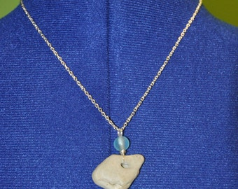 Natural Stone Necklace with Blue Glass Bead