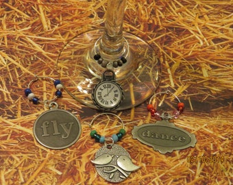 Time Flies - Wine Charms- Set of 4