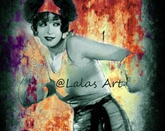 Vintage style painting Flapper Girl Clara Bow Kick it Art deco 1920s Silent movie star Retro art Wall art Boxing woman Mix media Chabby Chic