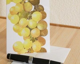 Golden Grapes Watercolor Notecard