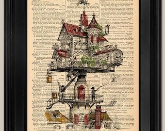 "Steampunk House Vintage Art Print. Vintage book page art print. Print on book page.  Fits 8""x10"" frame."