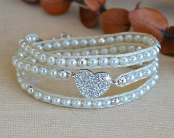 Crystal Heart Wrap Bracelet