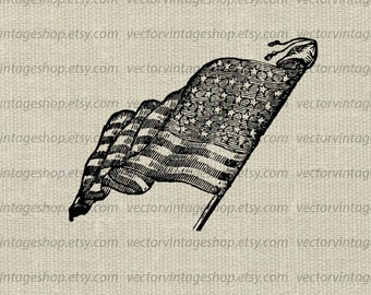 American Flag  Vector clipart 1900s July 4th instant download, antique USA patriot symbol, printable Victorian illustration WEB1711AI