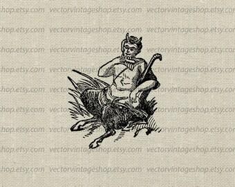 Pan Myth Vector Graphic Instant Download, Greek God, Faun Satyr Mythological Clip Art, Victorian Illustration jpeg png eps WEB1728AC