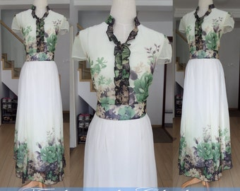flower color long dress spring summer dress short sleeve chiffon maxi dress clothing for women vintage dress party long dress beach dress