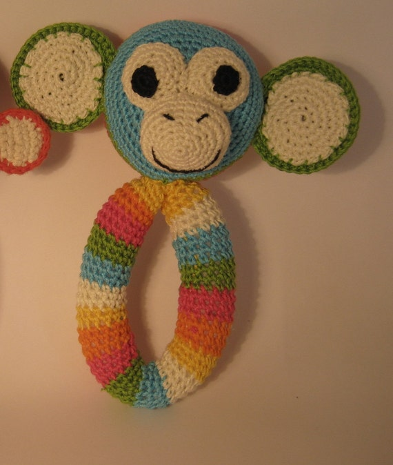 cute amigurumi monkey baby rattle pdf pattern