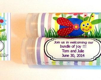 20 Happy Lovebug Baby shower Lipbalm Favors - custom color & flavor, personalized lipbalm, lovebug baby shower favor, lipbalm favor, A47