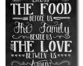 Kitchen Art, Dining Room Art, Bless The Food Before Us, Chalkboard Sign, Family Art Print, Chalk Art Print, Kitchen Chalkboard Sign, Rustic