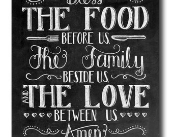 Kitchen Art Dining Room Bless The Food Before Us Chalkboard Sign
