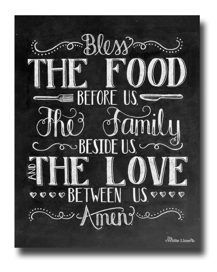 Kitchen Art Dining Room Art Bless The Food Before Us Chalkboard Sign