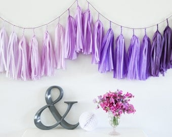 PURPLE OMBRE tassel garland party decoration