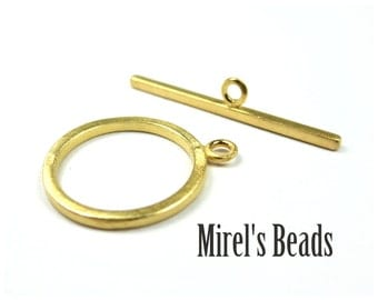 1 Set 22k Gold Over Sterling Silver Toggle Clasps, 13.8mm x 17mm